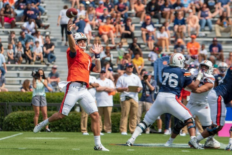 Joey Gatewood (1) throws the ball during A-Day 2019, on Saturday, April 13, 2019, in Auburn, Ala.