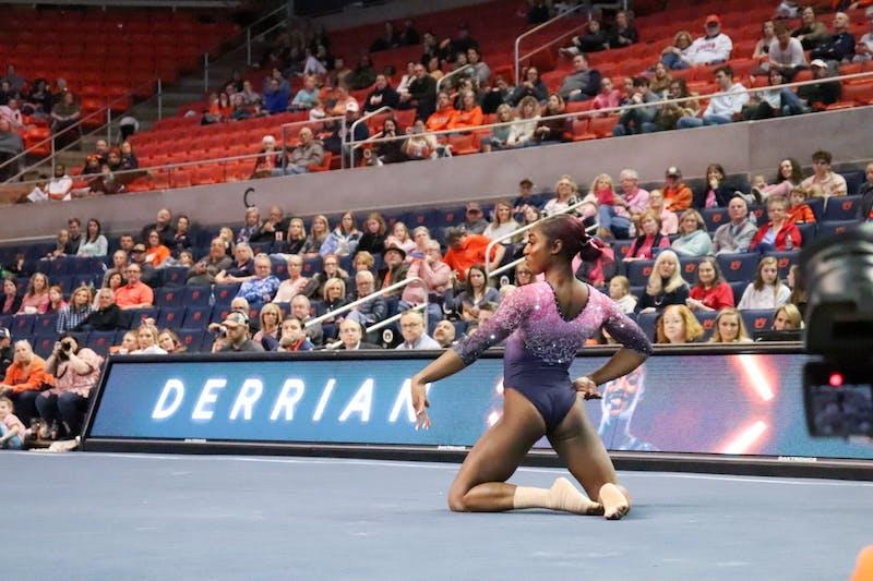 Derrian Gobourne on floor during Auburn University Gymnastics vs. Texas Women's University on Feb. 28, 2020, in Auburn, Ala.