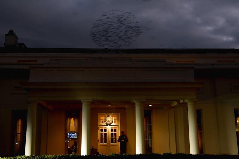 A flock of birds passes above the White House as a Marine stands guard outside the West Wing in Washington, D.C., on Friday, Jan. 9, 2019.