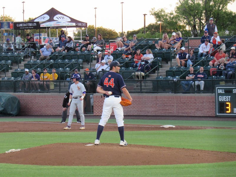 Jack Owen (44) pitching against LSU at Plainsman Park on May 6, 2021; Auburn, AL.