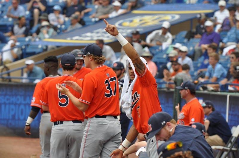 Will Holland celebratesduring Auburn Baseball vs. Ole Miss on Tuesday,May. 23, 2018 in Hoover, Ala.
