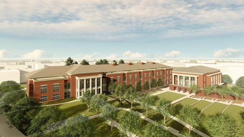 The new academic classroom and laboratory complex, left, and campus dining facility, right, will be constructed where Parker Hall and Allison Laboratory currently stand on the campus of Auburn University.