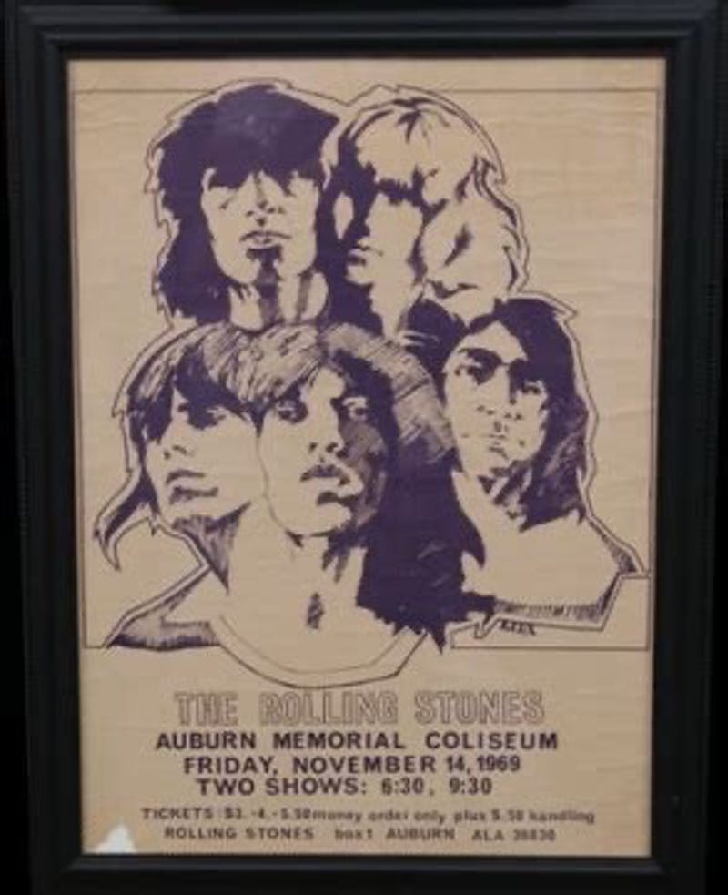 A poster used in 1969 to promote The Rolling Stones' performance in Auburn, Ala.