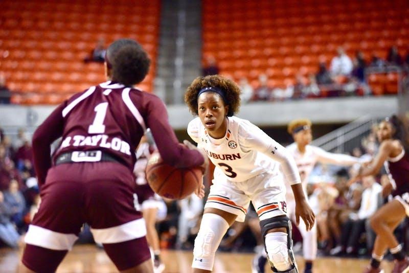 Erica Sanders (3) on defense during Auburn Women's Basketball vs. Mississippi State on Monday, Jan. 14, 2019, in Auburn, Ala.