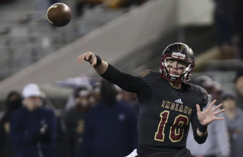 Pinson Valley's Bo Nix (10) throws a pass during the first half of the AHSAA Class 6A state championship game between Pinson Valley and Wetumpka at Bryant-Denny Stadium in Tuscaloosa on Friday, Dec. 8, 2017.   [Staff Photo/Erin Nelson - TideSports.com]