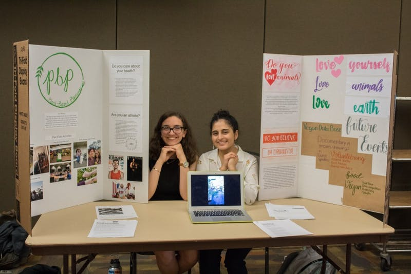 Jean Gannett and Ali Sanchez, pictured here during Plant Based Plainsman's first semester, founded the club their sophomore year after meeting each other on campus.