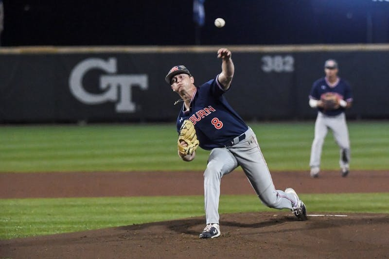 Bailey Horn pitching against Georgia Tech in the 2019 regional.