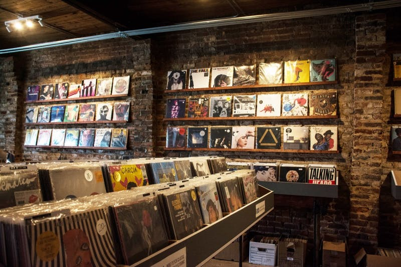 Records line the walls at 10,000 Hz Record store in Opelika, Ala. on Tuesday, Aug. 21.