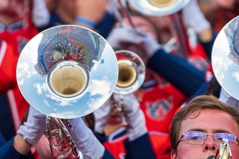 A member of the Auburn Marching Band plays during Auburn Football vs. Florida, on Saturday, Oct. 5, 2019, in Gainesville, Fla.