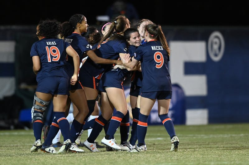 Auburn soccer celebrates a goal against Arkansas in the SEC tournament. Photo contributed by Auburn Athletics.