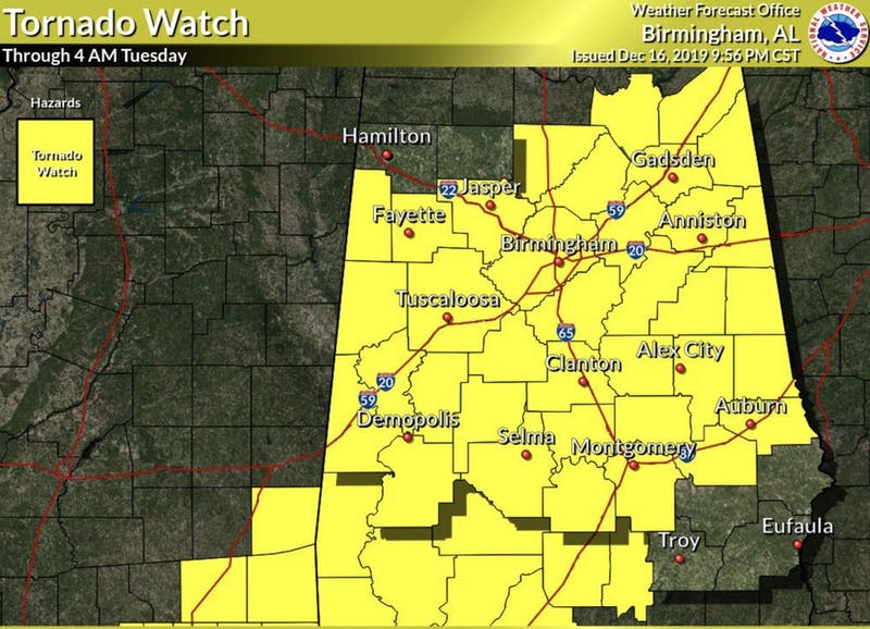 A Tornado Watch has been issued for the Auburn area until 4 a.m. on Tuesday, Dec. 17, 2019.