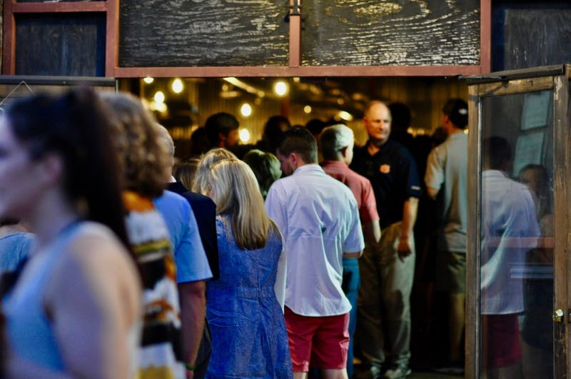 A line out the door of the Red Clay Brewing Company for the Red Clay Oyster Fest on Tuesday, Sept. 18, 2018 in Auburn, Ala.