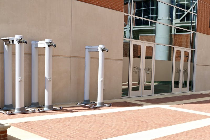 Metal Detectors are positioned outside of Jordan Hare Stadium ready for the football season on Sept. 3, 2019, in Auburn, Ala.