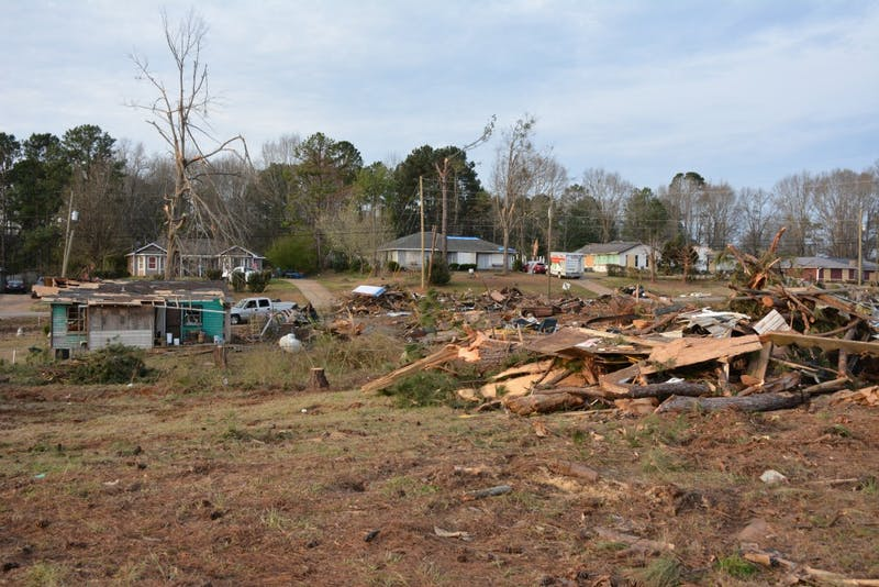Tornado damage in Smiths Station, Alabama.