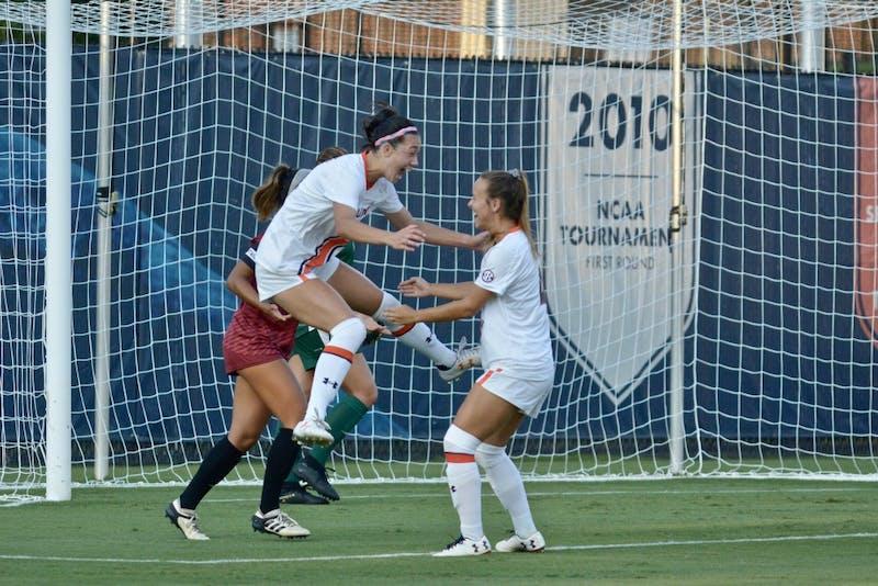 Auburn Women's Soccer celebrates a goal during the Auburn vs. Troy game Sunday Sept. 8, 2019, in Auburn, Ala.