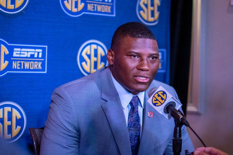 Derrick Brown answers a question during an interview at SEC Media Days at the Hyatt Regency Birmingham-Wynfrey Hotel on Thursday, July 18, 2019, in Hoover, Ala.