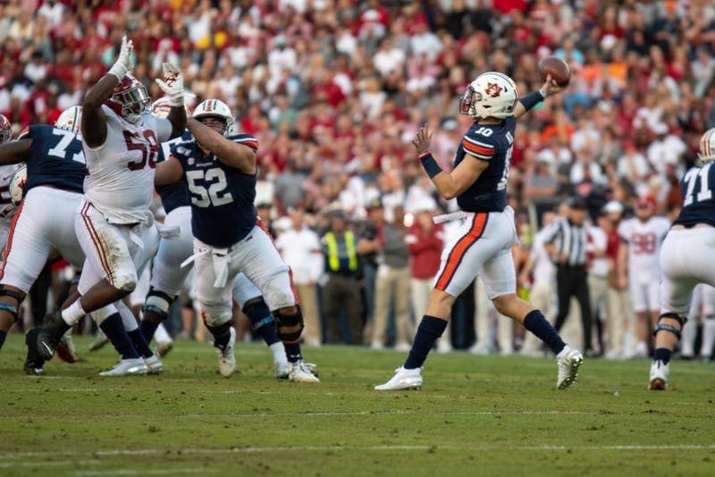 Bo Nix (10) prepares to pass the ball during Auburn Football vs. Alabama, on Saturday, Nov. 30, 2019, in Auburn, Ala.
