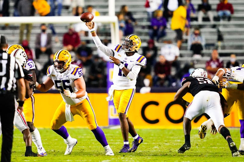 TJ Finley during the first half of a game between LSU and South Carolina at Tiger Stadium in Baton Rouge, Louisiana on Saturday, Oct. 24, 2020.(Photo by: Chris Parent / LSU Athletics)