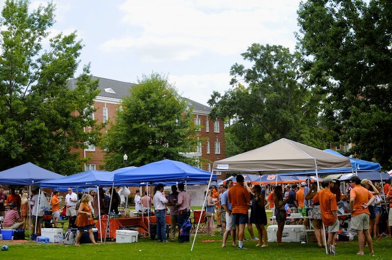 Tailgate parties in the Lower Quad in Auburn, Ala.