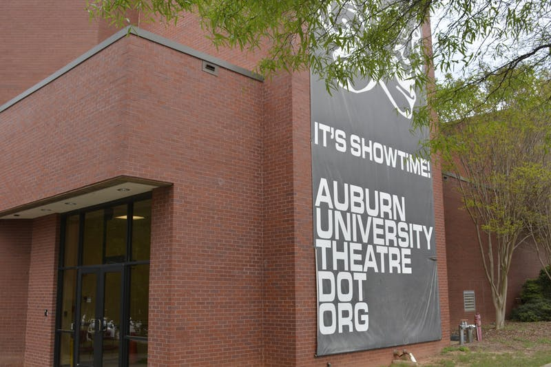 A banner promoting the Department of Theatre is displayed on Telfair Peet Theatre at Auburn University on Mar. 31, 2020, in Auburn, Ala.