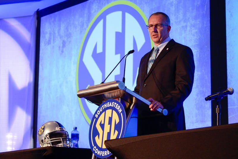 The new SEC Commissioner, Greg Sankey, answers questions from the press at the SEC Media Day 2015 in Hoover, Alabama on Monday, July 13, 2015.