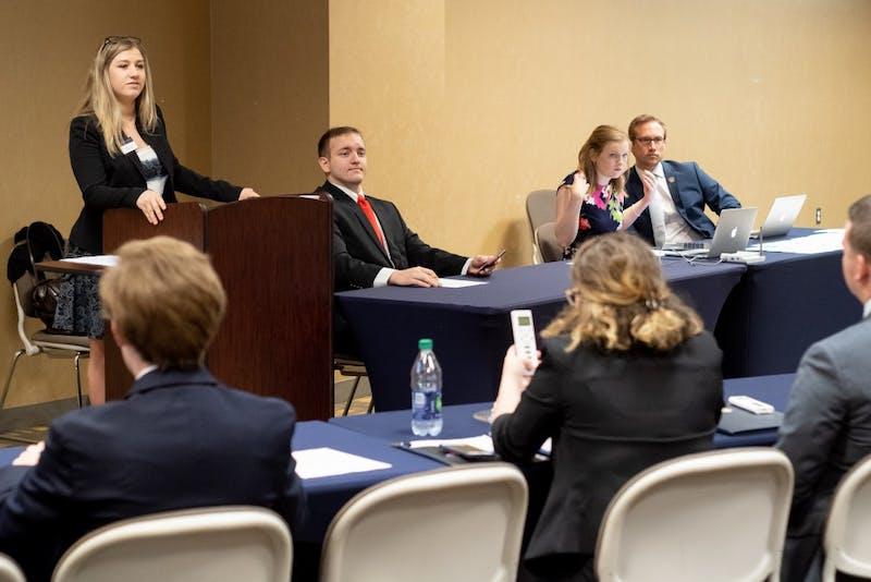 SGA Vice President Schyler Burney speaksat SGA Senate in Auburn, Ala. on Monday, April 23, 2018.