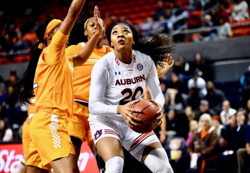 Unique Thompson (20) prepares the shoot the ball during Auburn Women's Basketball vs. Tennessee on Thursday, Jan. 3, 2019, in Auburn, Ala.