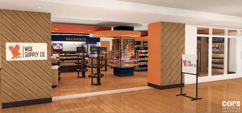 Design rendering of WDE Supply Co. location in the Student Center.