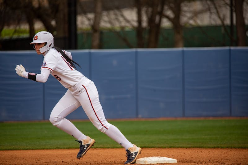 Justus Perry (18) running during the game between Auburn and Southeast Missouri State at Jane B Moore Field on Feb 14, 2021; Auburn, AL, USA. Photo via: Matthew Shannon/AU Athletics