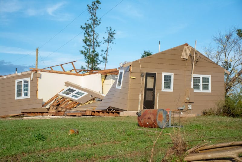 A home is destoryed on March 4, 2019, in Beauregard, Alabama, after a tornado killed 23 people and left dozens of other injured and without homes.