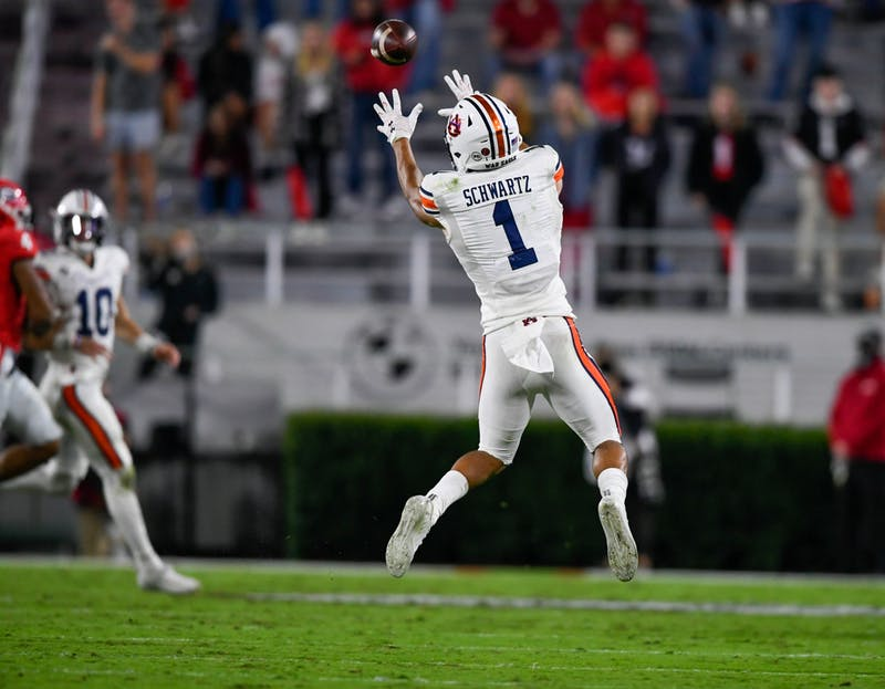 Anthony Schwartz (1) with a catch downfield during the game between Auburn and Georgia at Samford Stadium on Oct 3, 2020; Athens, GA, USA. Photo via: Todd Van Emst/AU Athletics