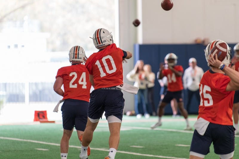 Bo Nix (10) throws the ball during Auburn Footballs first Spring Practice, on Monday, March 18, 2019, in Auburn, Ala.