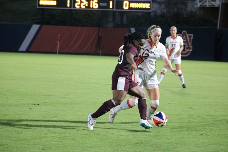 Auburn Womens soccer team fights for the ball during the Auburn vs. Mississippi State game Friday Sept. 14 in Auburn, Ala.