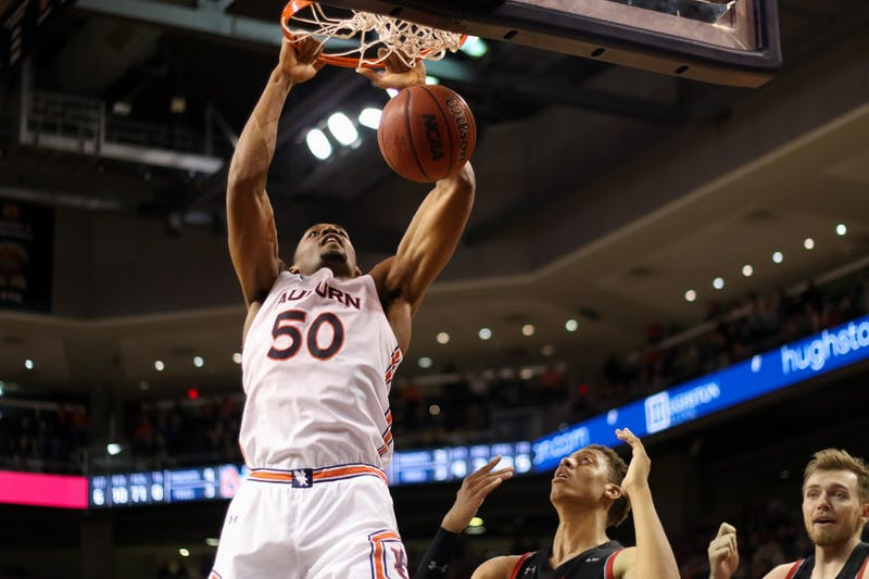 Austin Wiley (50) dunks the ball during Auburn Mens Basketball vs. CSUN on Friday, Nov. 15, 2019, in Auburn, Ala.