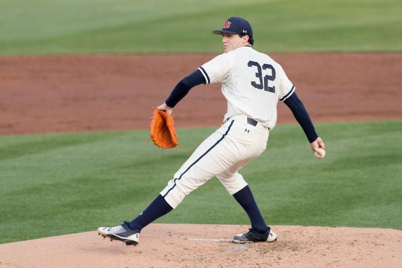 Casey Mize pitchesduring Auburn vs. Vanderbilt baseball on Friday, May 4, 2018, in Auburn, Ala.