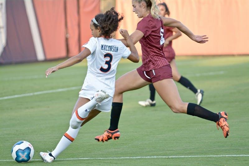 Alyssa Malonson (3) kicks the ball during the Auburn vs. Troy game Sunday Sept. 8, 2019, in Auburn, Ala.