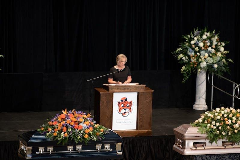 Barbara Helms speaks at the Memorial in memory of Rod and Paula Bramblett on Thursday, May 30, 2019, in Auburn, Ala.
