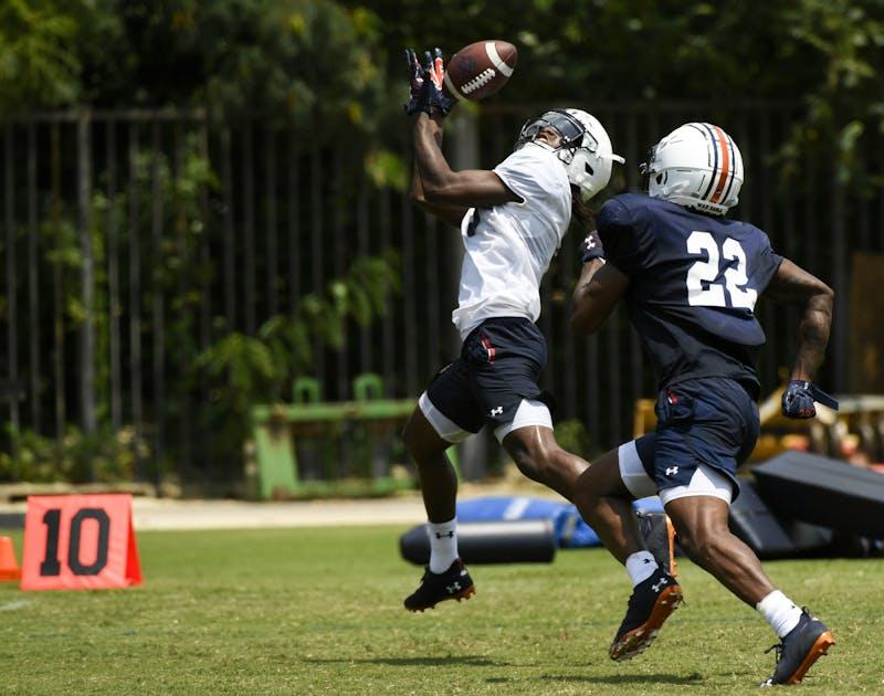 Tar'Varish Dawson Jr with the touchdown Sunday.Auburn football fall camp day 3 shells on Sunday,  Aug. 8, 2021 in Auburn, Ala.Todd Van Emst/AU Athletics