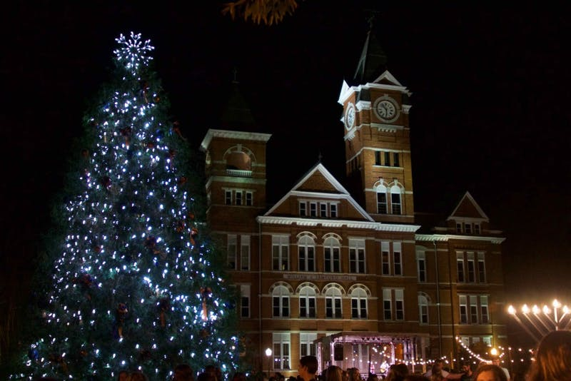 The lit Christmas tree in front of Samford Hall at the Holiday Lighting Ceremony on Dec. 2, 2018, in Auburn, Ala.