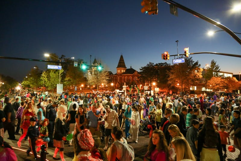 The view from Toomer's Corner during Auburn's 16th Annual Downtown Trick or Treat in Auburn, Ala.