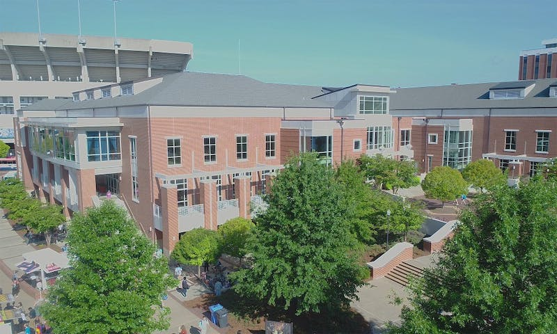 The Student Center is pictured from the air in August 2018.
