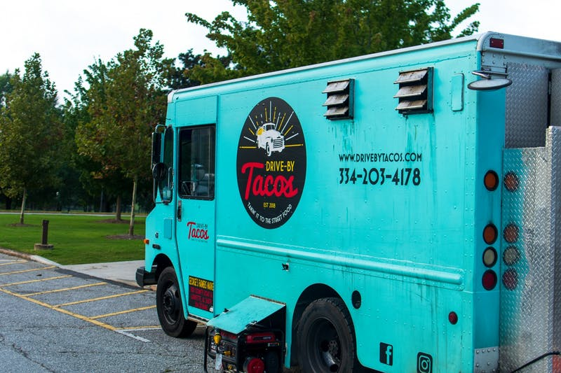 The Drive-By Tacos food truck sits in front of Auburn College of Veterinary Medicine on Wednesday, Aug. 26, 2020, in Auburn, Ala.