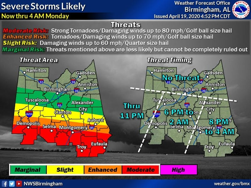 The National Weather Service Birmingham tweeted this updated storm graphic at 5:01 p.m on April 19.