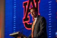 Gus Malzahn answers a question during an interview at SEC Media Days at the Hyatt Regency Birmingham-Wynfrey Hotel on Thursday, July 18, 2019, in Hoover, Ala.