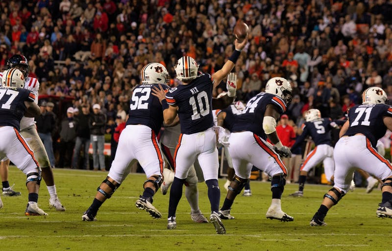 Bo Nix (10) throws downfield during Auburn vs. Ole Miss on Nov. 2, 2019, in Auburn, Ala.