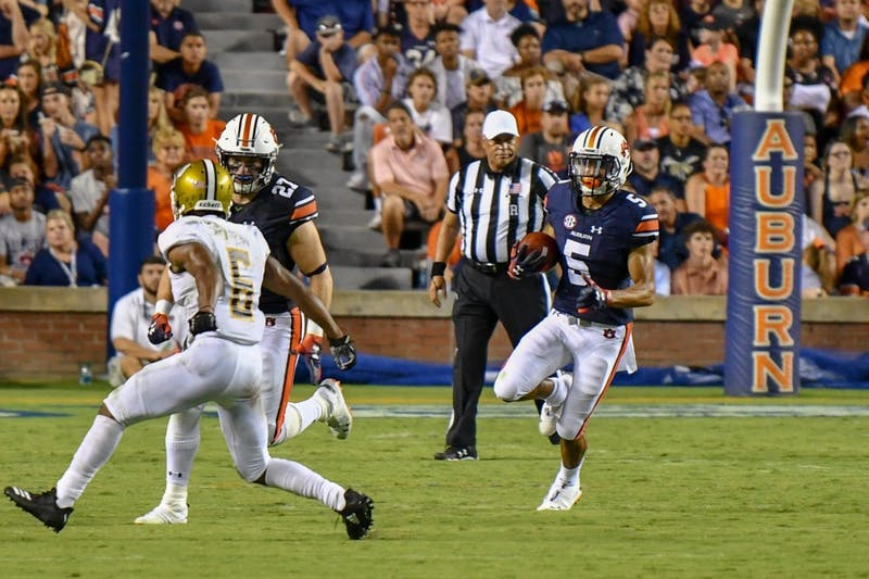 Anthony Schwartz (5) runs down the field with the ball during Auburn football vs Alabama State on Saturday, Sept. 8, 2018, ​in Auburn, Ala.