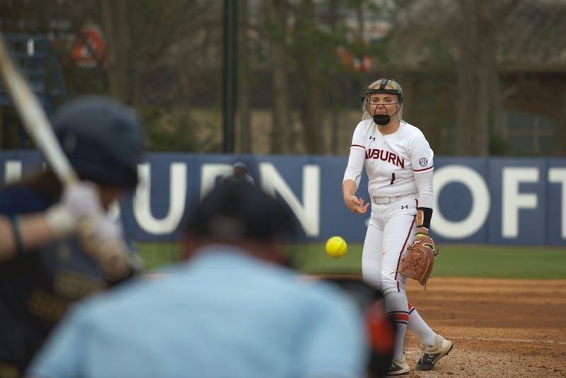 Samantha Yarbrough (1) pitches in Auburn Softball vs. Georgia Southern on Mar 1, 2020 in Auburn, AL