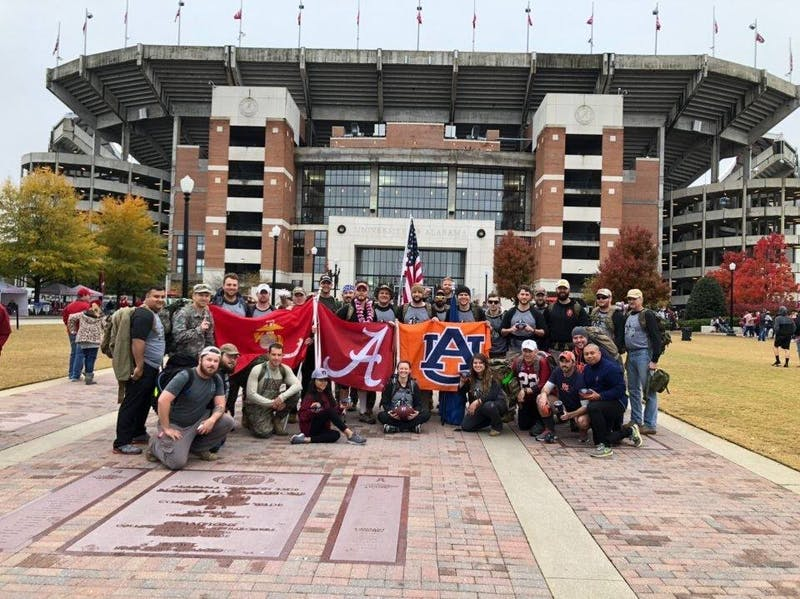 Auburn and Alabama student veterans on the University of Alabama campus after the 2018 Operation Iron Ruck march.
