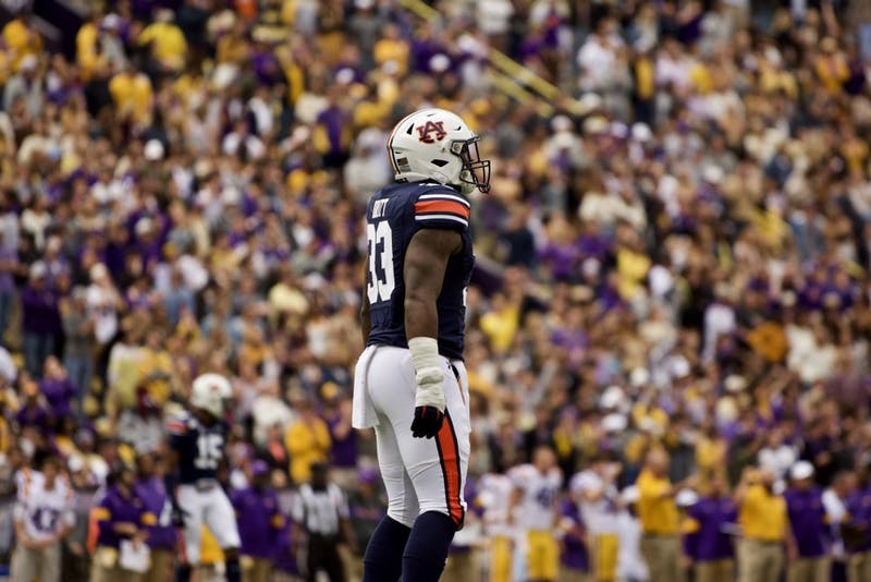 K.J. Britt (33) takes the field during the Auburn vs. LSU game Saturday Oct. 26, 2019, in Baton Rogue, La.