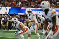 Jarrett Stidham (8) prepares for a play during Auburn Football vs. Washington on Saturday, Sept. 1, 2018 in Atlanta, GA.